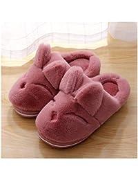 GAOHUI Slippers Los Hombres Invierno Caliente Coral Antideslizante Velvet Coser Cute Dibujos Animados En 3D Par De Zapatos,Piel Roja,43-44