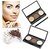 LyDia® Eyebrow Beige/Brown Powder Palette Cosmetic Makeup Shading Kit with Angled Brush & Mirror