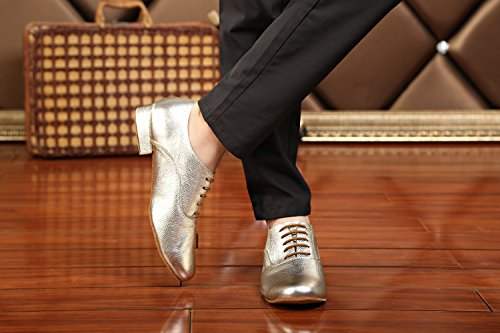 Minitoo GL208Solid Pelle Uomo Latin Ballroom sociale professionale scarpe da ballo Gold