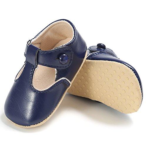 Confortevole Scarpine Neonata per Bimba Non Scivoloso e Belle Scarpine di Pelle per le Neonate di 0-18 Mesi (Rosso, M) Blu