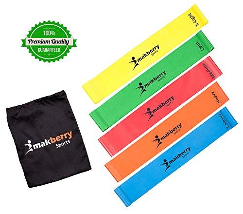 Set aus 5 Fitnessbändern - Gymnastikbänder / Widerstandsbänder - Trainingsbänder / Ideal für Fitnessübungen, Workout, Sport und Dehnübungen zu Hause, Pilates, Physiotherapie, Yoga und CrossFit / Hergestellt aus natürlichem Latex - Lebenslange Garantie