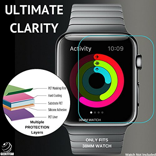 GeekTitan Ultra Clear Tempered Glass Screen Protector for iWatch Apple Watch 38mm,