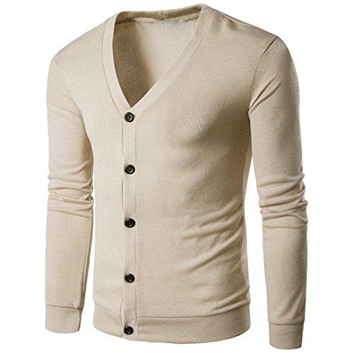 Männer V-Ausschnitt Sweatshirt CLOOM Trenchcoat Herren Elegente Strickjacke Tops Outwear Sport Pullover Tunika übergangsjacke College Mantel Slim Fit Business Windbreaker Sweater (Beige, M)