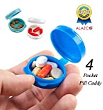 4pc ALAZCO Pill Caddy Compact Pocket Medicine Pill Box - Airtight Moisture-Proof Purse Briefcase Travel