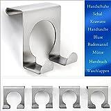 TP-Products - Gancio appendiabiti doppio per porta, in acciaio INOX spazzolato, 4 pezzi, 5 x 5 cm