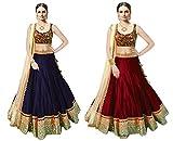 Maxthon FashionWomen's Dark Blue & Red Benglory Silk Unstitched Free Size XXL Combo Lehenga Choli (Women's Indian Clothing Lehnga Choli 4061 4060)