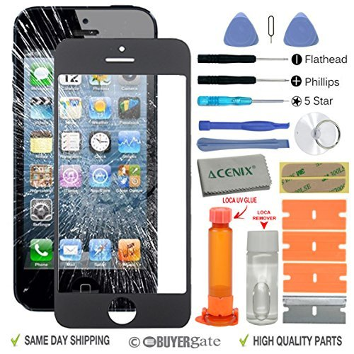 ACENIX Universal Reparaturset für Touchscreen, Weiß, mit LOCA-Kleber & -Entferner, für Apple iPhone 5/5S/5C, mit 20Stück Ersatz-Sets, Komplett-Set für defekte iPhone-5-Bildschirme - Ersatz-linse 5c Iphone