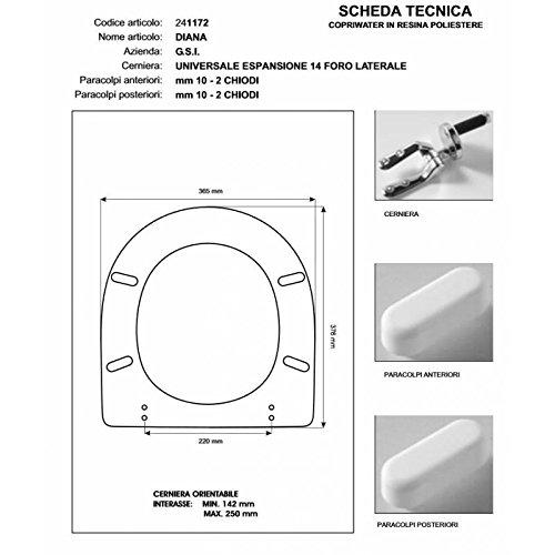 WC G.S.I Diana weiß Reißverschluss Absenkautomatik Soft Close cromo-sedile-asse WC
