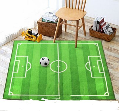 Preisvergleich Produktbild D & X Kinder Wohnzimmer Schlafzimmer Bereich Fußball Nachttisch Comic 100* 130cm Matten Teppich Kindermatte Teppich grün Waschmaschine