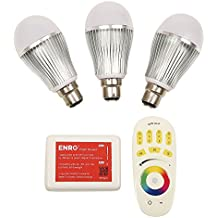 ENRG Prism Latest LED Bulbs - Remote / Wi-Fi / Controlled Bulbs with 256 colours Set of 3pc bulbs with RGB remote & ENRG WiFi router for indoor lighting, mood light, with B22 Holder Convertor for indian bulb holders - 2 Year Warranty MFN 5221001