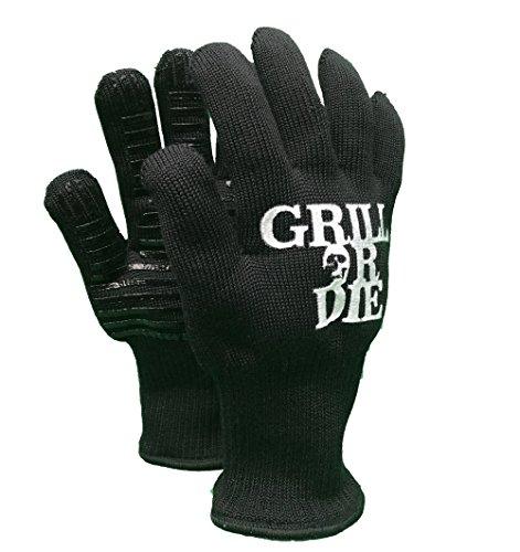 GRILL OR DIE Grillhandschuhe hitzebeständig Premium-Qualität in schwarz mit Aufdruck ★ Grill-Zubehör bis 500 Grad zum Grillen, Backen und Kochen (Handschuhe OneSize, Schwarz)