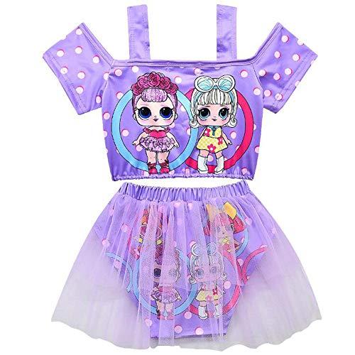 C&NN LOL Surprise Baby Girls Bañador de Manga Corta Traje de baño de Dos Piezas, Baño de natación...
