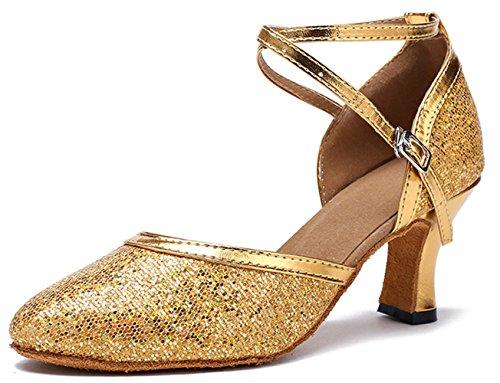 Honeystore Neuheiten Frauen Kunstleder Heels Moderne Einfarbig Tanzschuhe mit Pailletten Gold 36 CN
