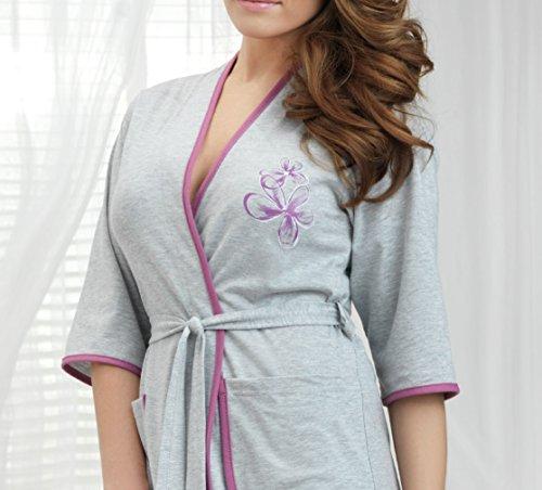 DOROTA kuscheliger und moderner Bademantel mit Taschen & Bindegürtel, made in EU Grau-Pink