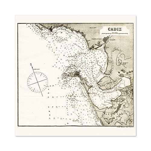 Map Antique Rosser 1869 Cadiz Spain Historic Replica Premium Wall Art Canvas Print 24X24 Inch Karte Antiquität Spanien Wand -