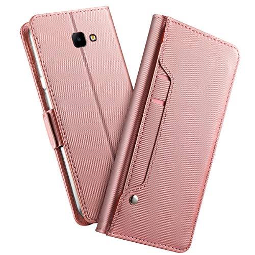 Futypei Samsung Galaxy J4 Core Hülle, Premium Leder Flip Case mit Standfunktion undKartenfach Magnetisch Ledertasche Handyhülle TPU Innenraum Case Slim Lederhülle für Samsung Galaxy J4 Core Rose Gold