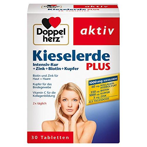 Doppelherz Kieselerde Plus - Zink und Selen als Beitrag für den Erhalt normaler Nägel - Biotin für Haare und Haut - 1 x 30 Tabletten -