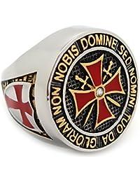 BOBIJOO Jewelry - Anillo De Caballero De La Orden De Los Templarios Hombre De Plata De