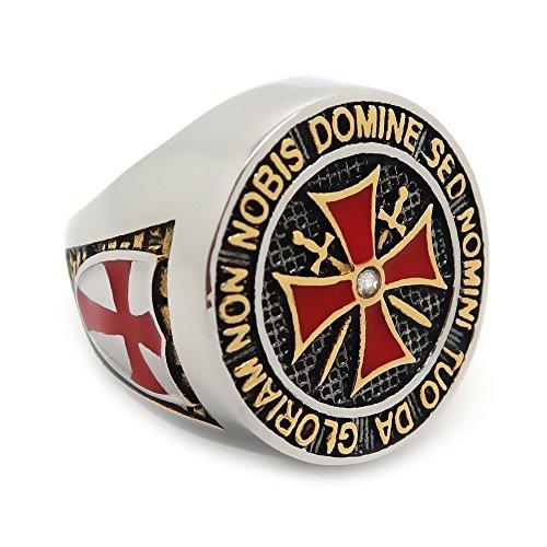 BOBIJOO Jewelry - Ring Ritter Orden Templer Mann Silbernes Kreuz Malta Rot Edelstahl - 17,8 (7 US), Edelstahl 316