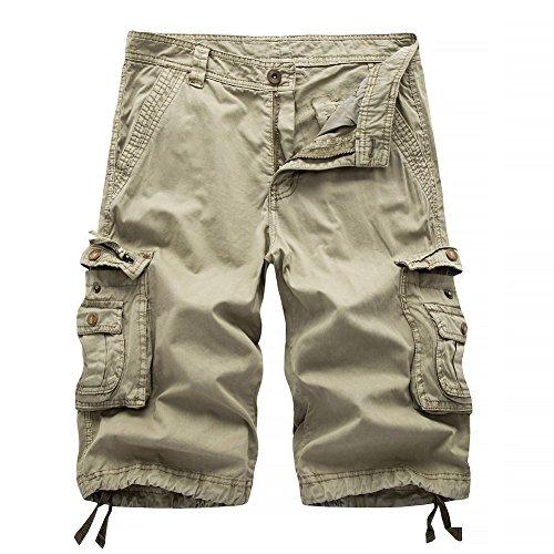 AYG Cargo Shorts Herren Bermudas Baumwolle Shorts(khaki,38) - Bermuda Short Khaki