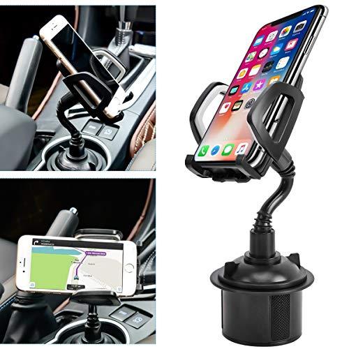 Getränkehalter für Auto, tragbare Getränkehalter, Handyhalterung mit universell verstellbarem Schwanenhals für iPhone, Samsung Galaxy, Google Pixel und Fast alle Handys (grau)