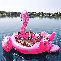 """WXH Gigante Flamenco Flotador Inflable Fiesta de natación Lujoso Pájaro Isla Juguete, Flotante Barco Lounge, 197""""* 174"""" * 97""""un Viaje 6 Personas Verano Adulto Niño"""