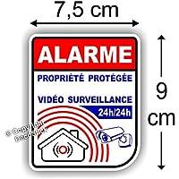 Sticker Alarme Vidéo Surveillance Autocollant (Lot de 4 Stickers)