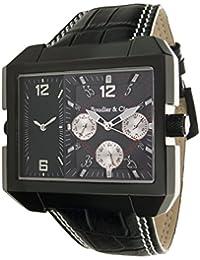 Boudier & Cie Herren Leon Kingsize Collection Quarz Armbanduhr mit zwei Zeitzonen - Analoge Anzeige - Lederarmband Gehäuse aus Edelstahl Größe XL - OZG1102-BC