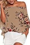 YOINS Damen Sommer Kurzarm Schulterfrei Blumenmuster Kurze Ärmel Tops Oberteil Shirt Strand Tunika T-Shirts 04 XL/EU46