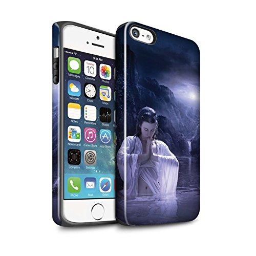 Officiel Elena Dudina Coque / Brillant Robuste Antichoc Etui pour Apple iPhone 5/5S / Poussière de Lutin Design / Un avec la Nature Collection Lagune À la Nuit