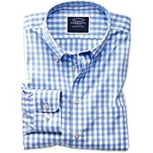 Classic Fit Button-Down Non-Iron Poplin Sky Blue Gingham Cotton Shirt Single Cuff by Charles Tyrwhitt