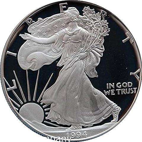 1994Unzen American, silber Proof Liberty Eagle One Dollar Medaille–Schlüssel Datum Auflagen
