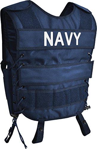 normani Taktische SWAT Weste mit Pistolenholster und abnehmbarem Schriftzug auf dem Rücken Farbe Navy Größe M/L