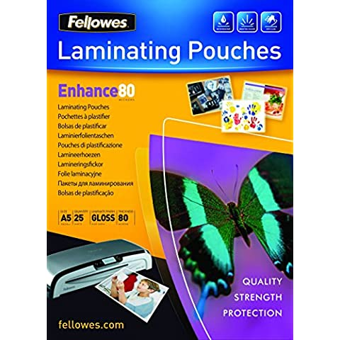 Fellowes 5396003 - Pack de 25 fundas para plastificar, A5, acabado brillo, 80 micras