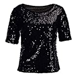 Yvelands Damen Pailletten Sparkle Cocktail Party Lässige Top Bluse Crop Tops Shirt Kurzarm T-Shirt(CN-5XL,Schwarz)