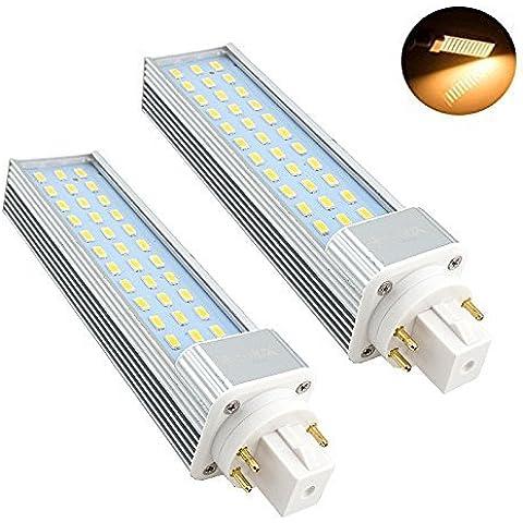 Bonlux 2-Pack 13W GX24 4 Pin LED de reequipamiento de la lámpara blanco cálido 3000K 180 grados 26W Equivalente fluorescentes Bombilla LED GX24q / PL G24Q Horizontal Empotrar abajo luz (Eliminar / de derivación del lastre)