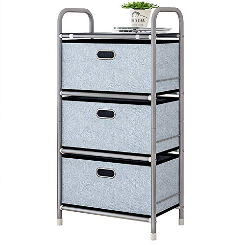YUSDP Truhenregal mit 3 Schubladen, Schrank mit Stauraum, Stabiler Stahlrahmen, herausnehmbare Stoffbehälter für Schlafzimmer, Flur - strukturierter Aufdruck (Aufbewahrung Cube Kommode)