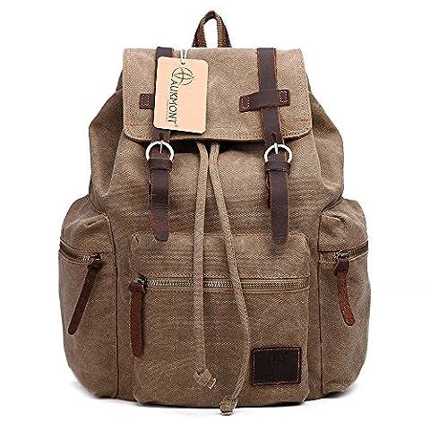 AUKMONT Vintage Canvas Rucksack Rucksäcke Herren Damen Laptop Backpack Retro Schulrucksack für Stendenten Outdoor Reise Wandern Camping Khaki #220