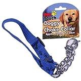 BLUE DOG CHECK CHAIN HALF CHOKE CHOKER COLLAR PUPPY ADJUSTABLE STRONG NYLON TRAINING