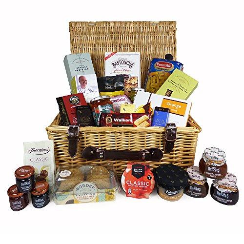 """""""Un sabor de lujo"""" de mimbre Cesto regalo tradicional cesta con 25 productos Gourmet Alimentación"""