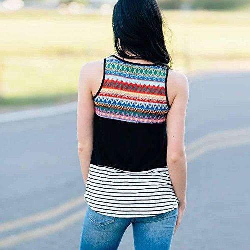 Longra Donna Cotone casuale miscelato geometrico stampa senza maniche maglia superiore Nero