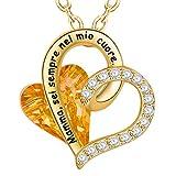 ENGSWA Collar Madre Mujer Grabado Cristales Swarovski con Incrustaciones de lekani Colgante Doble Corazón Regalo para Madre