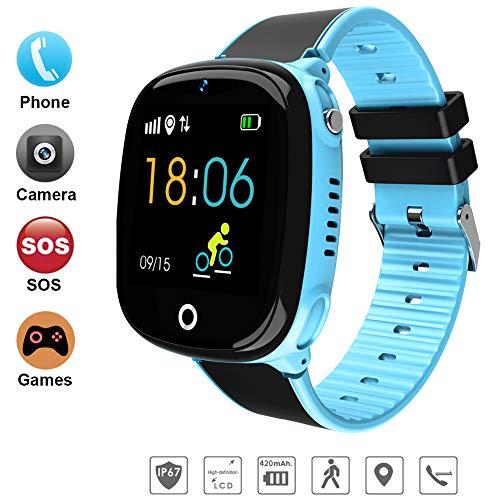 DUWIN 2019 Niños Inteligente Relojes, GPS Kids SmartWatch con Camara, Flash luz, SOS, Nocturna Pantalla táctil, Reloj Inteligente Anti - Lost Smart Tracker Pulsera Compatible para iPhone Android,Blue