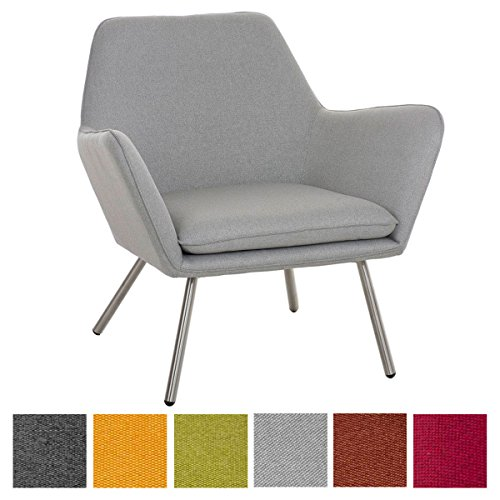 CLP Design Edelstahl Lounge-Sessel CARACAS, Stoffbezug, Polsterstärke 6 cm, Sitzhöhe 40 cm hellgrau