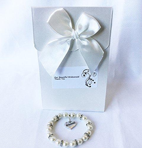Brautjungfer Armband Geschenk mit Charme & Hochzeit Geschenkbox Elfenbeinfarben Brautjungfern Schmuck Gifts AT DAWN 10YRS–Teen (Teens Schmuck)