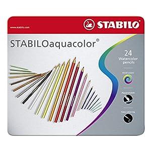 Matita colorata acquarellabile - STABILOaquacolor - Scatola in Metallo da 24 - Colori assortiti 3 spesavip