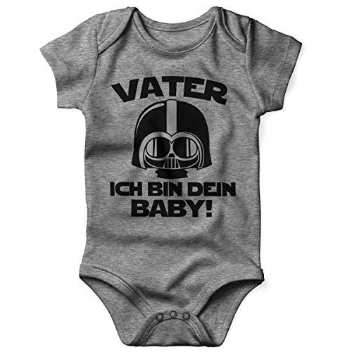 Mikalino Babybody mit Spruch für Jungen Mädchen Unisex Kurzarm Vater - ich Bin Dein Baby! | handbedruckt in Deutschland | Handmade with Love, Farbe:Heather, Grösse:80 (Mädchen S Kostüme 80)