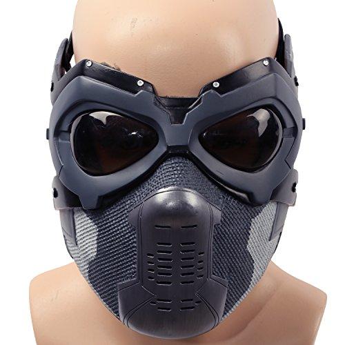 Halloween Maske Bucky Cosplay Kostüm Hälfte Gesicht Helm Herren Verrücktes Kleid Zubehör Merchandise für Adult (Soldier America Kostüm Winter Captain)
