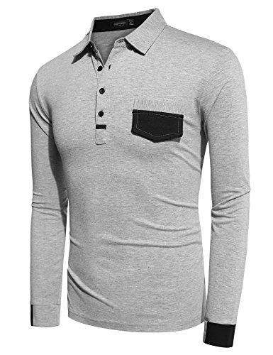 Burlady Poloshirt Tshirt Herren Polohemd Langarmshirt Sweatshirt Sport Langarm Shirts Freizeit Polokragen Männer Viele Stile E-Grau