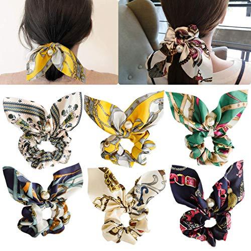 6 pezzi di capelli scricchiolii elastici fasce per capelli arco ponytail titolare legami di capelli eleganti morbidi per le donne ragazze